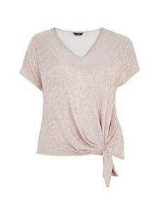 Pink V-Neck Knot Top, Pink