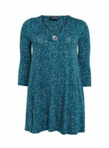 Teal Blue Polka Dot Buttoned Tunic Top, Teal