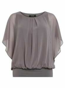 Grey Bubble Hem Blouse, Grey