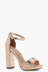 Womens Wide Fit Snake Metallic Platform Heels - Metallics - 4, Metallics