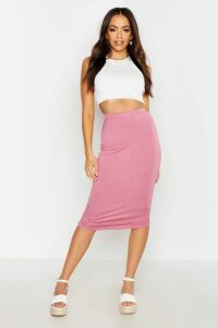 Womens Basic Jersey Midi Skirt - Pink - 8, Pink