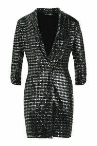 Womens Metallic Blazer Mini Bodycon Dress - grey - 8, Grey