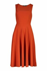 Womens Square Neck Midi Skater Dress - orange - 10, Orange