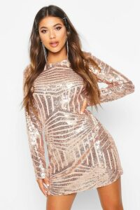 Womens Boutique Sequin Mesh Bodycon Dress - pink - 8, Pink