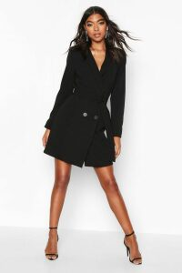 Womens Tall Belted Blazer Dress - black - 12, Black