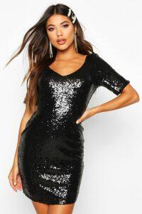 Womens Sequin Short Sleeve Bodycon Dress - black - 10, Black