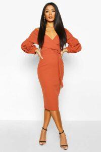 Womens Off the Shoulder Wrap Midi Dress - orange - 20, Orange
