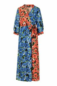 Womens Tall Mixed Floral Wrap Midi Dress - red - 16, Red