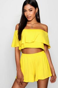 Womens Off The Shoulder Top + Short Co-Ord Set - Yellow - 14, Yellow