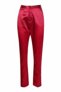Womens Tall Satin Trousers - red - 10, Red