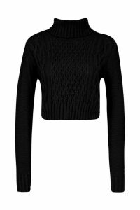 Womens roll/polo neck Cable Crop Jumper - black - L, Black