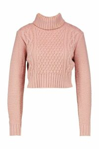 Womens roll/polo neck Cable Crop Jumper - Pink - M, Pink