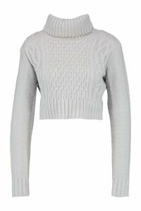 Womens roll/polo neck Cable Crop Jumper - grey - L, Grey