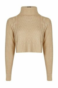 Womens roll/polo neck Cable Crop Jumper - beige - L, Beige