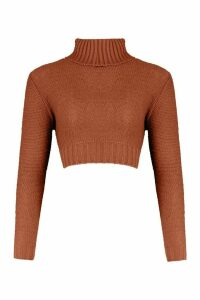 Womens roll/polo neck Cable Crop Jumper - brown - S, Brown
