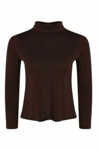 Womens Basic roll/polo neck Long Sleeve Top - brown - 14, Brown
