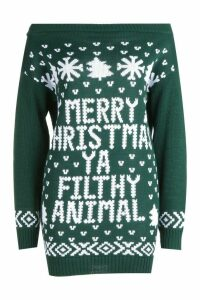 Womens Slash Neck Filthy Animal Christmas Jumper - green - M/L, Green