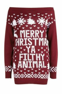 Womens Slash Neck Filthy Animal Christmas Jumper - red - S/M, Red