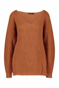 Womens Oversized V Neck Jumper - beige - S/M, Beige