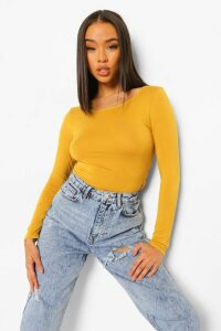 Womens Basic Round Neck Long Sleeve Top - yellow - 6, Yellow