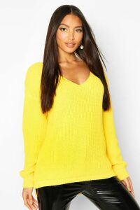 Womens Oversized V Neck Jumper - bright yellow - S/M, Bright Yellow