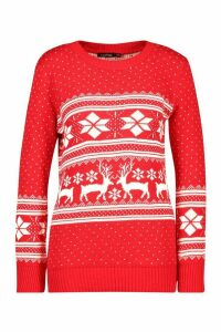 Womens Reindeer Fairisle Christmas Jumper - red - M/L, Red