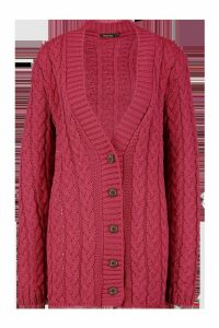 Womens Cable Knit Cardigan - Pink - S/M, Pink