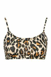 Womens Leopard Print Slinky Strappy Crop Top - beige - 14, Beige