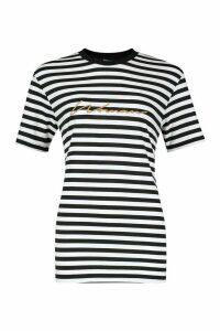 Womens Woman Embroidered Stripe Tee - Beige - 12, Beige