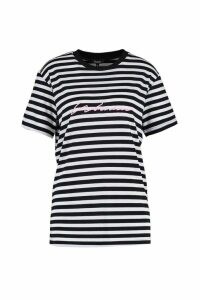 Womens Woman Embroidered Stripe Tee - Pink - 14, Pink