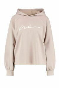 Womens Oversized Slogan Woman Sweat Hoody - beige - 8, Beige