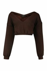 Womens V Neck Crop jumper - brown - XL, Brown