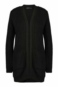 Womens Chunky Cardigan With Pockets - black - XS, Black