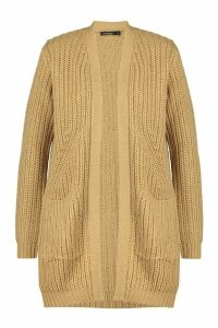 Womens Chunky Cardigan With Pockets - beige - M, Beige