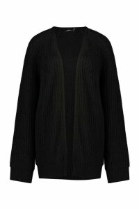 Womens Chunky Fisherman Knit Raglan Sleeve Cardigan - black - M/L, Black