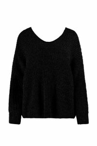 Womens Oversized Slouchy V-Neck Chenille Jumper - black - S/M, Black