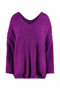 Womens Oversized Slouchy V-Neck Chenille Jumper - purple - M/L, Purple
