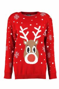 Womens Snowflake Reindeer Christmas Jumper - red - S/M, Red