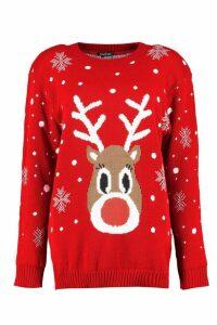 Womens Snowflake Reindeer Christmas Jumper - red - S/M, Red
