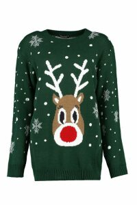 Womens Snowflake Reindeer Christmas Jumper - green - M/L, Green