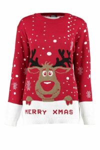 Womens I Love Xmas Reindeer Christmas Jumper - red - M/L, Red