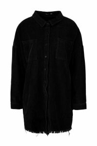 Womens Raw Edge Oversized Cord Shirt - Black - 14, Black