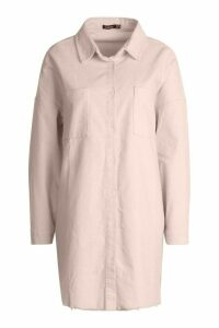 Womens Raw Edge Oversized Cord Shirt - cream - 14, Cream