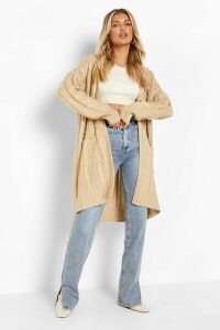 Womens Slouchy Cable Knit Cardigan - Beige - S/M, Beige