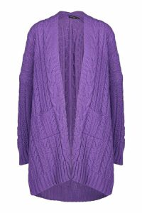 Womens Slouchy Cable Knit Cardigan - purple - S/M, Purple