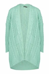 Womens Slouchy Cable Knit Cardigan - green - M/L, Green