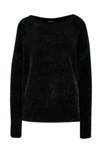 Womens Chenille Jumper - black - M/L, Black