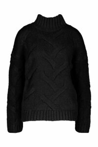 Womens Soft Knit Cable Jumper - black - M/L, Black