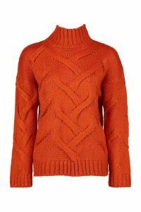 Womens Soft Knit Cable Jumper - orange - M/L, Orange
