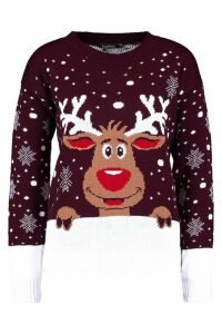 Womens Reindeer Christmas Jumper - red - M/L, Red